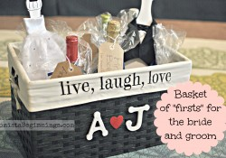 """Basket of """"Firsts"""" for the Bride and Groom {DIY}"""