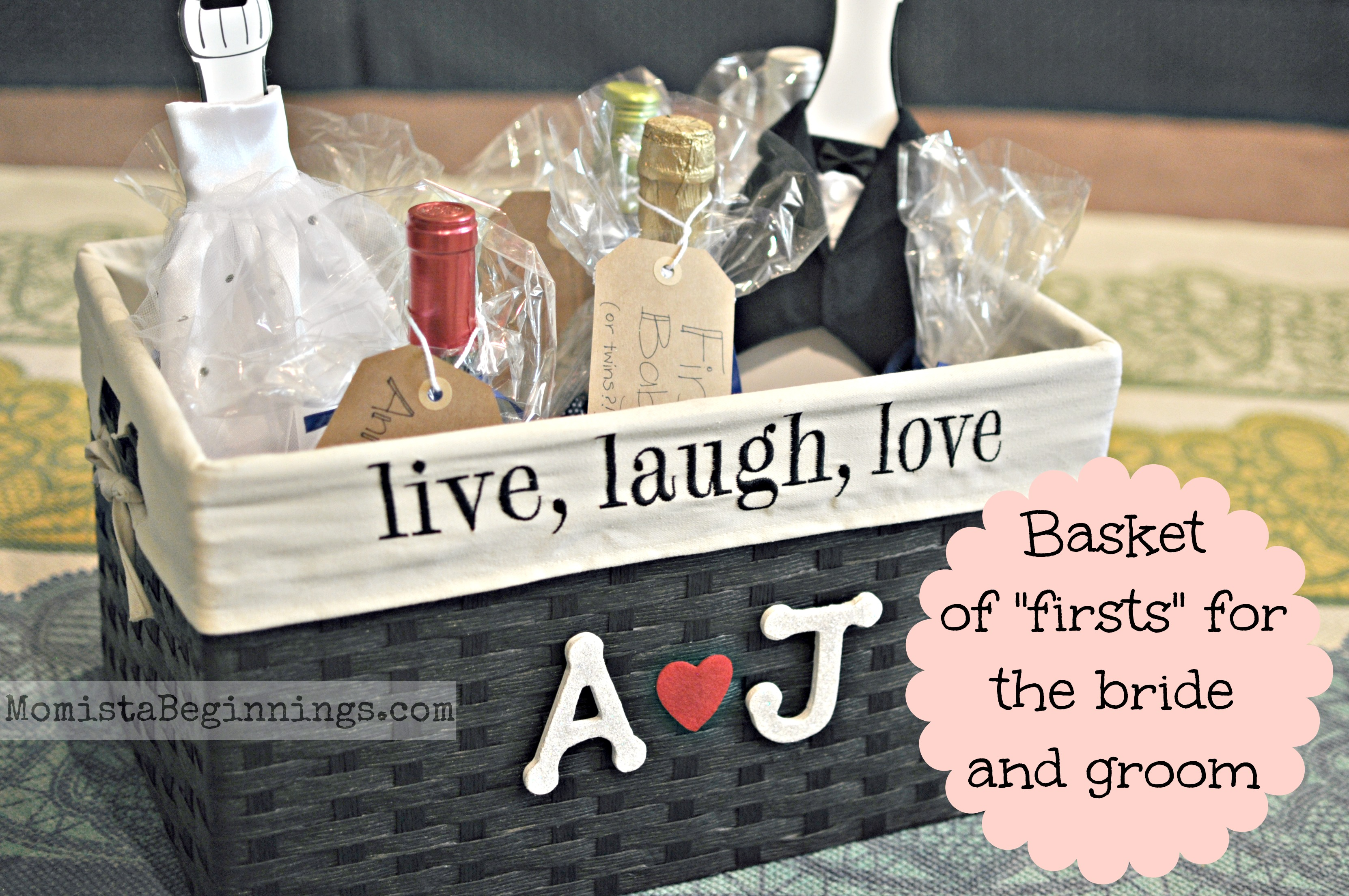 "Gift Ideas For Groom On Wedding Day: Basket Of ""Firsts"" For The Bride And Groom {DIY} -Momista"